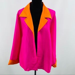 Bloomingdales Orange Blazer with Pink Cuff Collar